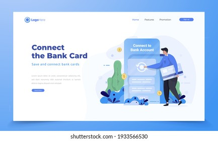 Illustration of save and connect bank card to financial mobile application, Synchronize bank card to mobile app concept