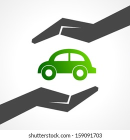 Illustration of save eco car concept