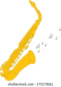 Illustration of a saxophone on a white background