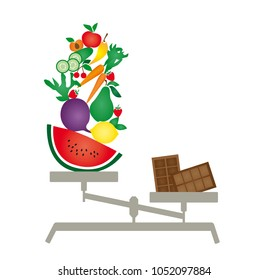 Illustration of a scale with fruits and vegetables versus chocolate on white background