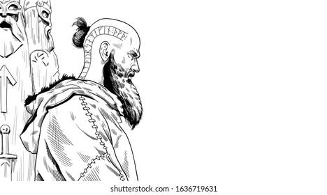 The illustration of the scandinavian God Loki