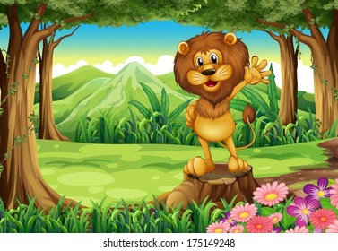 Illustration of a scary lion above the stump at the forest