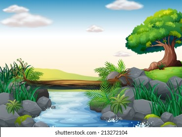 Illustration of a scene of a stream