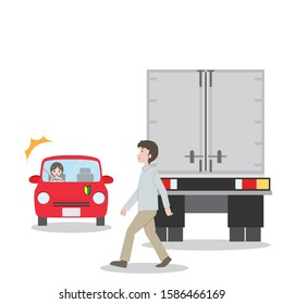 Illustration of a scene where a person came out from the shadow of a truck.