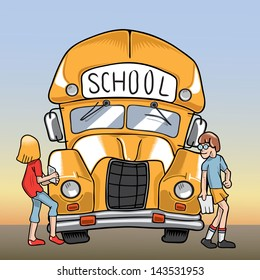 Illustration of a school bus and two students