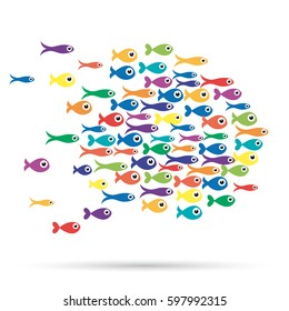 Illustration of the school of fishes under the sea, abstract shapes