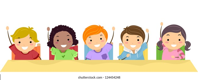Illustration of School Kids Lined Up in a Row and Raising Their Hands