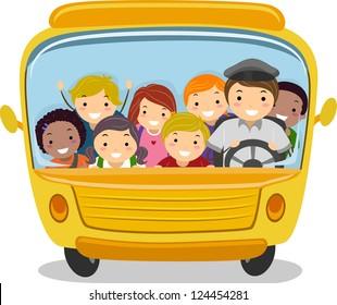 Illustration of School Kids Riding a School Bus