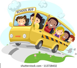 Illustration of School Kids Riding a Schoolbus