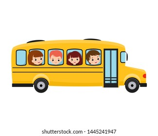 Illustration of school kids riding yellow school bus transportation education
