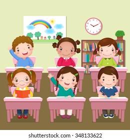 Illustration of school kids studying in classroom