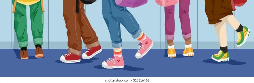 Illustration of School Kids Walking Down the Hallway