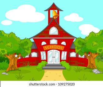 Illustration of school landscape