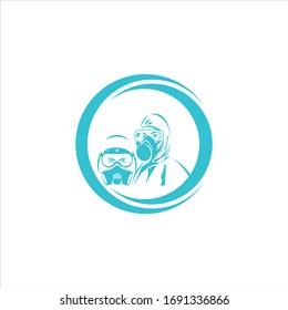 illustration of scientist in a hazmat vector suit. hazmat people logo illustration for your campaign