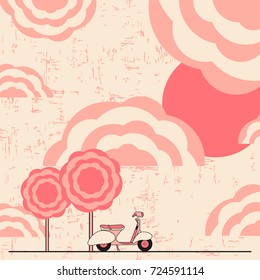 an illustration of a scooter and clouds. For lovers of retro motorcycles. It can be used for logos, websites, brochures, postcards, etc.