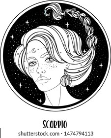 Illustration of Scorpio astrological sign as a beautiful girl. Zodiac vector drawing isolated in black and white. Future telling, horoscope, alchemy, spirituality. Coloring book for adults.