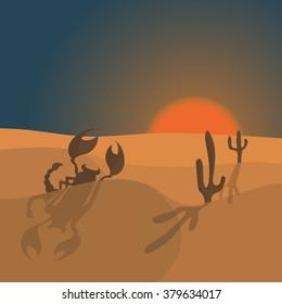 illustration of scorpion in desert
