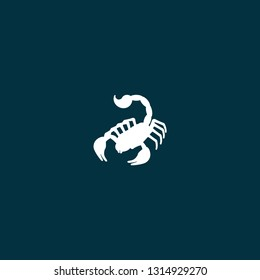 illustration scorpion vector white color on blue background