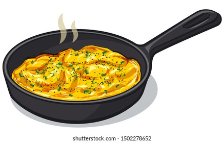 illustration of the scrambled eggs on the pan