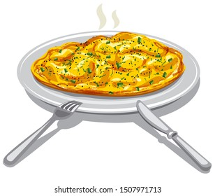 illustration of the scrambled eggs on the plate