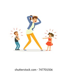 Illustration of screaming children and crying mother