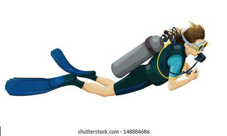 Illustration of a scuba diver on a white background.