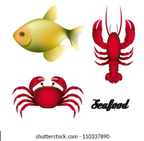 Illustration of sea animals, fish, crab and lobster, vector illustration