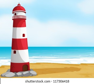 illustration of the sea and a light house in a beautiful nature