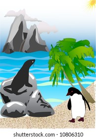 illustration of a sea lion and a penguin on the beach on a sunny day