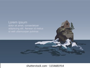 illustration of sea and lonely rock with waves crushing on it and small wooden house and a pine on that rock