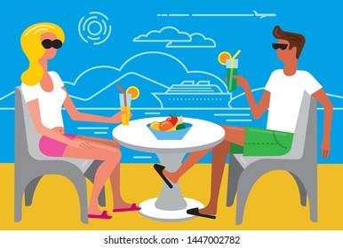 illustration of the sea tropical summer people resort