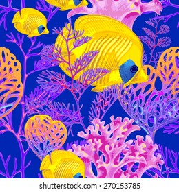 Illustration of the seabed with exotic fish and corals. Vector. Seamless background for textile, fabric, paper, wallpaper.
