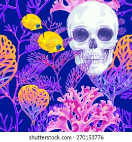 Illustration of the seabed with a skull, exotic fish and corals. Vector. Seamless background for textile, fabric, paper, wallpaper.