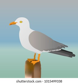 An illustration of a seagull standing on a pole