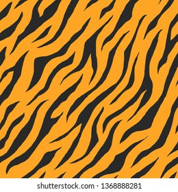 Illustration of seamless animal print pattern texture background. Realistic stripe of tiger skin color. Vector