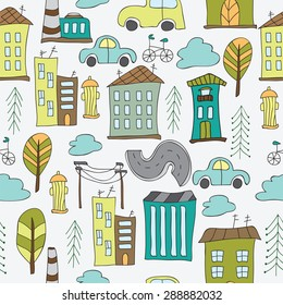 Illustration of seamless city - pattern with houses