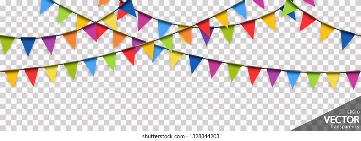 illustration of seamless colored garlands background for party or carnival usage with transparency in vector file
