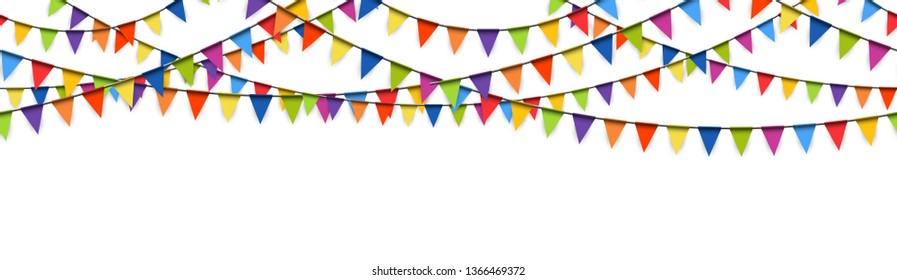 illustration of seamless colored garlands background for party or carnival usage isolated on white background