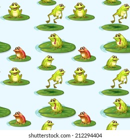 Illustration of a seamless design of the frogs at the pond