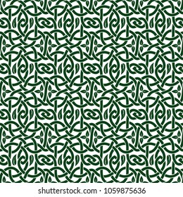illustration with seamless green floral celtic pattern with leaves on white background