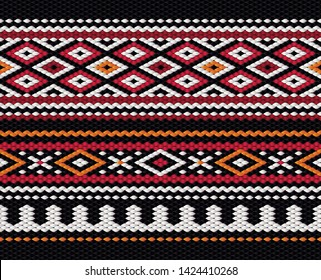 Illustration of a Seamless Middle Eastern Traditional Sadu Carpet Fabric Texture