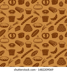 illustration of seamless pattern of different kind of bread and bakery