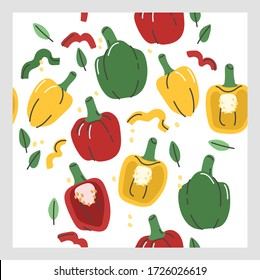 illustration of seamless pattern of different variation colour of bell peppers. Vegetables pattern, Vegetarian food pattern, Organic chilli pattern.