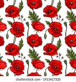 Illustration seamless pattern of flowers and leaves. Red poppy flowers, buds, seed pods, stems. Objects are isolated on a white background. Cute doodle style.