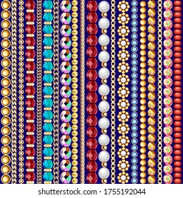 Illustration seamless pattern gold jewelry chains and beads borders