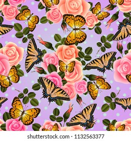 Illustration of seamless pattern with swallowtail, silverspot butterflies, roses and polka dot background