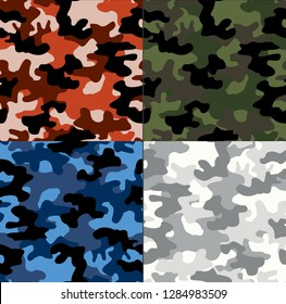 Illustration of seamless patterns set camouflage spots red green blue white military on a dark background abstraction print vector fabric
