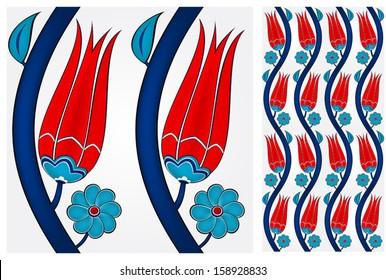 Illustration of a seamless Turkish tile. Tulip pattern. Eps10.