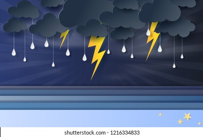 illustration of seascape view with black cloud and yellow lighting on blue sky.Rainy season in sea with storm lightning,3D paper art and craft style. vector poster,web-site with print