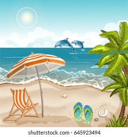 Illustration of a seashore with a beach umbrella and chair